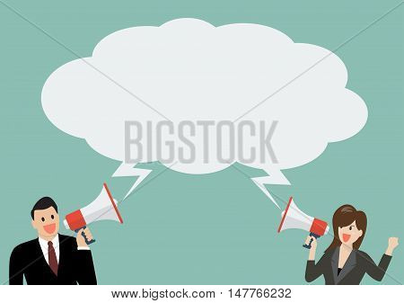 Businessman and woman holding a megaphone with bubble word. Vector Illustration