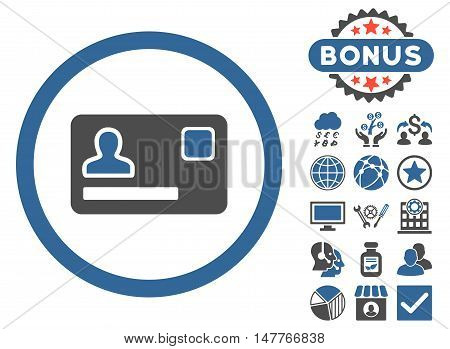 Banking Card icon with bonus pictogram. Vector illustration style is flat iconic bicolor symbols, cobalt and gray colors, white background.