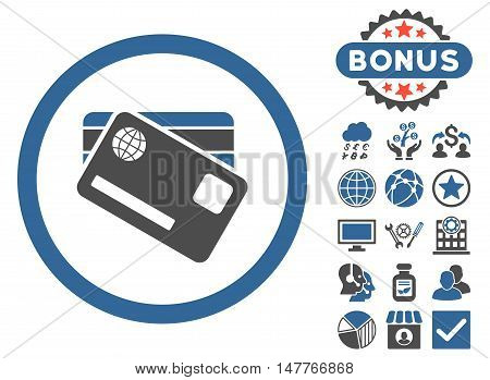 Banking Cards icon with bonus design elements. Vector illustration style is flat iconic bicolor symbols, cobalt and gray colors, white background.
