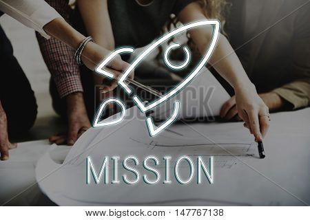 Business Start up Goals Rocketship Graphic Concept