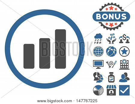 Bar Chart Increase icon with bonus design elements. Vector illustration style is flat iconic bicolor symbols, cobalt and gray colors, white background.