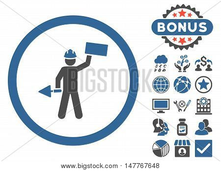 Builder With Shovel icon with bonus pictures. Vector illustration style is flat iconic bicolor symbols, cobalt and gray colors, white background.
