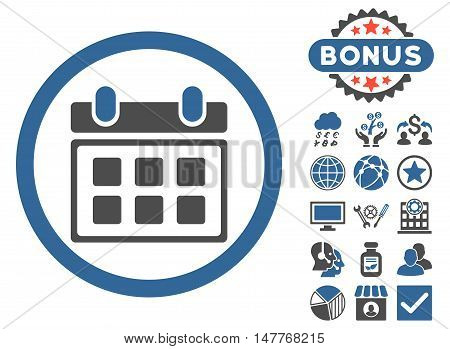 Calendar icon with bonus images. Vector illustration style is flat iconic bicolor symbols, cobalt and gray colors, white background.