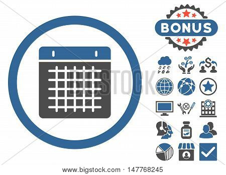 Calendar icon with bonus pictures. Vector illustration style is flat iconic bicolor symbols, cobalt and gray colors, white background.