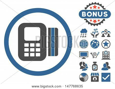 Card Processor icon with bonus pictogram. Vector illustration style is flat iconic bicolor symbols, cobalt and gray colors, white background.