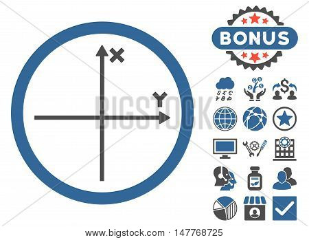 Cartesian Axis icon with bonus elements. Vector illustration style is flat iconic bicolor symbols, cobalt and gray colors, white background.