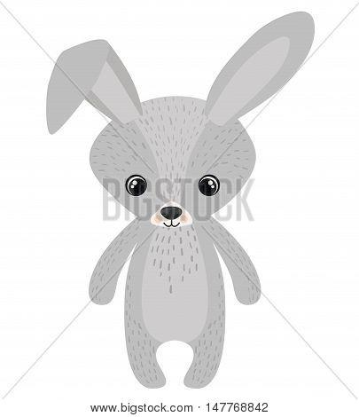 Rabbit cartoon icon. Forest animal theme. Isolated design. Vector illustration
