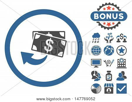 Cashback icon with bonus symbols. Vector illustration style is flat iconic bicolor symbols, cobalt and gray colors, white background.