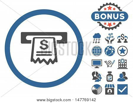 Cashier Receipt icon with bonus pictures. Vector illustration style is flat iconic bicolor symbols, cobalt and gray colors, white background.