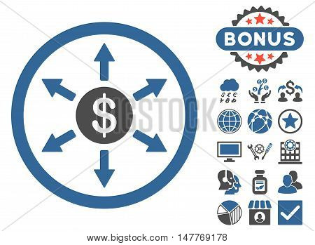 Cashout icon with bonus pictures. Vector illustration style is flat iconic bicolor symbols, cobalt and gray colors, white background.