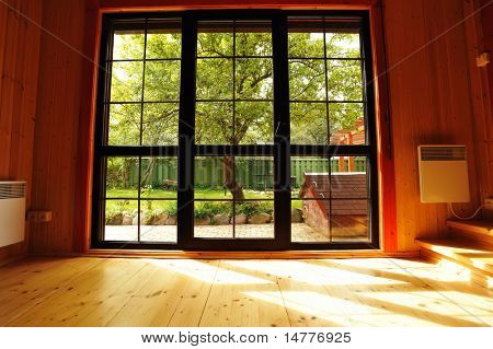 Big window showcase wooden interior