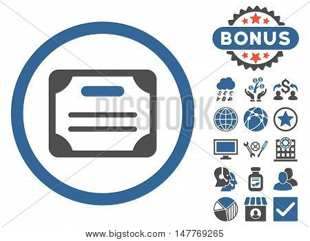 Certificate icon with bonus images. Vector illustration style is flat iconic bicolor symbols, cobalt and gray colors, white background.