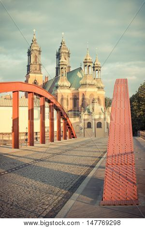 Poznan, Poland - June 29, 2016: Vintage Photo, Old Bridge And Cathedral Church In Town Poznan