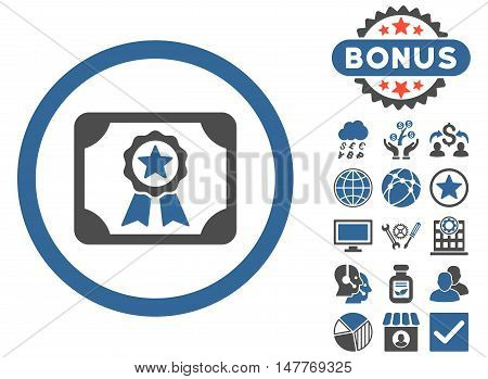 Certificate icon with bonus pictures. Vector illustration style is flat iconic bicolor symbols, cobalt and gray colors, white background.