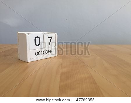 October 7Th.october 7 White Wooden Calendar On Vintage Wood Abstract Background.autumn Day.copyspace