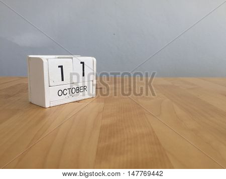 October 11Th.october 11 White Wooden Calendar On Vintage Wood Abstract Background.autumn Day.copyspa