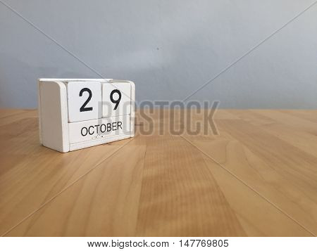 October 29Th.october 29 White Wooden Calendar On Vintage Wood Abstract Background.autumn Day.copyspa