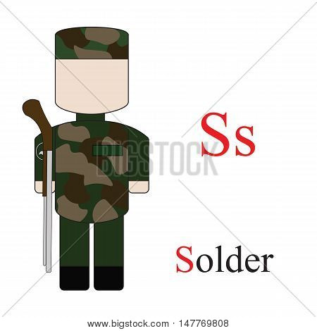 Letter S alphabet of professions. Solder. ABC education cards for kids.