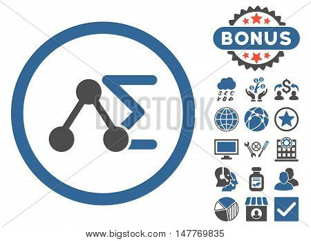 Chemical Formula icon with bonus images. Vector illustration style is flat iconic bicolor symbols, cobalt and gray colors, white background.