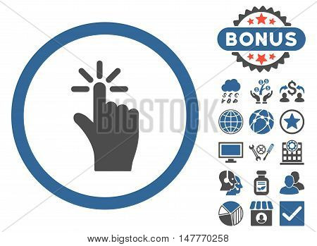 Click icon with bonus elements. Vector illustration style is flat iconic bicolor symbols, cobalt and gray colors, white background.