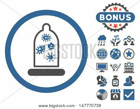 Condom Microbes icon with bonus elements. Vector illustration style is flat iconic bicolor symbols, cobalt and gray colors, white background.