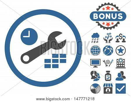 Date and Time Configuration icon with bonus design elements. Vector illustration style is flat iconic bicolor symbols, cobalt and gray colors, white background.
