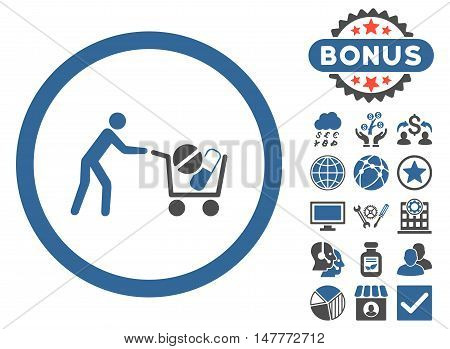 Drugs Shopping Cart icon with bonus symbols. Vector illustration style is flat iconic bicolor symbols, cobalt and gray colors, white background.