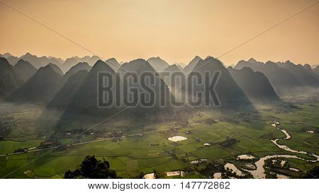 Rice field in valley in Bac Son Lang Son Vietnam