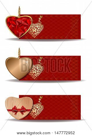 Set banners with hearts. Celebratory backgrounds for birthday, Valentine's day, wedding, engagement and other romantic events. Colorful festive banners with hearts. Vector illustration