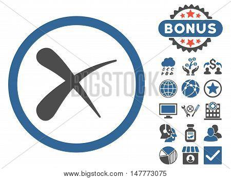 Erase icon with bonus symbols. Vector illustration style is flat iconic bicolor symbols, cobalt and gray colors, white background.