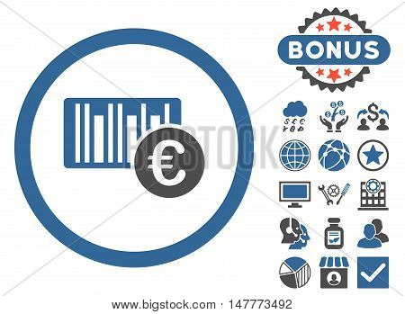 Euro Barcode icon with bonus pictures. Vector illustration style is flat iconic bicolor symbols, cobalt and gray colors, white background.