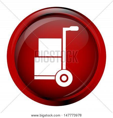 Handcart symbol on red button vector illustration