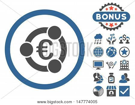 Euro Collaboration icon with bonus symbols. Vector illustration style is flat iconic bicolor symbols, cobalt and gray colors, white background.