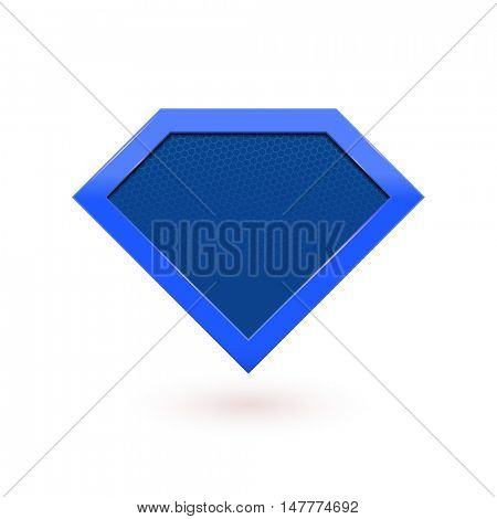 Super hero shield emblem. Vector diamond shape superhero icon.
