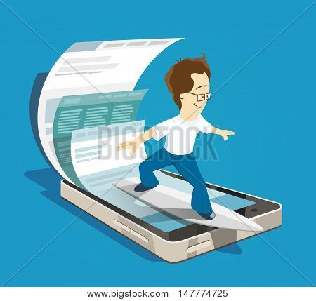 happy young student man surfing search browsing mobile internet using his smartphone