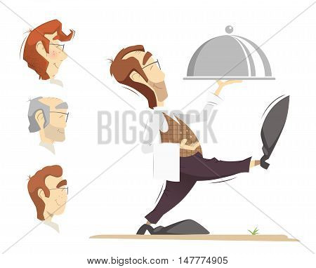 Waiter carrying an order. Color vector illustration.