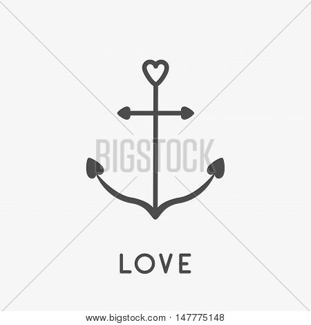 Anchor icon in shapes of heart. Nautical sign symbol. Ship anchor. Love greeteng card. Isolated White background. Flat design. Vector illustration