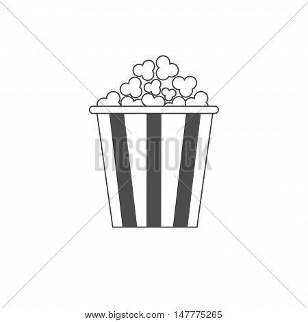 Popcorn icon. Cinema movie line icon in flat design style. White background. Isolated. Vector illustration