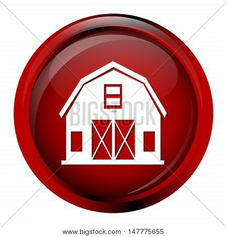 Building icon barn icon on red button vector illustration