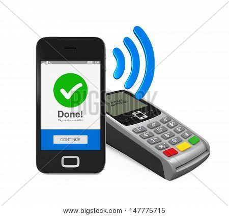 POS Terminal with Smartphone isolated on white background. 3D render