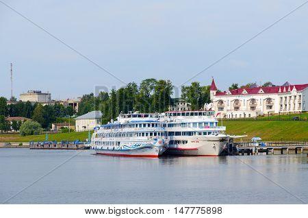 UGLICH RUSSIA - JULY 19 2016: Cruise ships