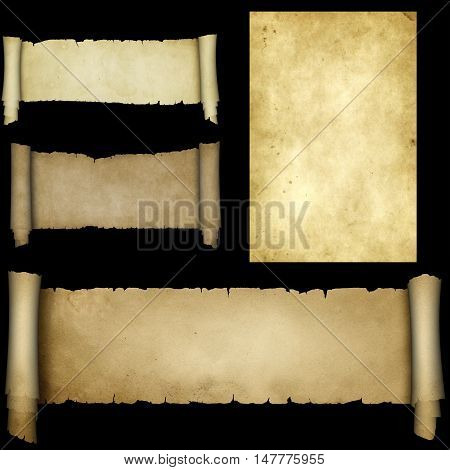 Antique scroll of parchment and old paper texture on black background. Parchment scrolls collection.
