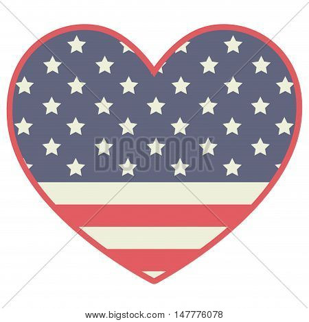 Heart shape with stars and lines inside icon. decoration and usa colors theme. Vector illustration
