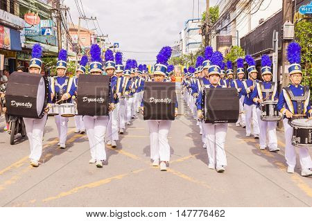 Phuket Thailand - Aug 26 : Parade of various schools in Phuket province on opening ceremony of yearly provincial sport.