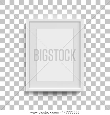 White photo frame mockup. Vector 3D picture frame design vector for A4 image or text