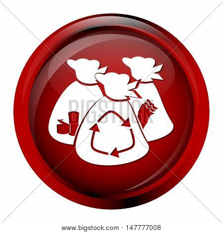 Garbage bag icon red button vector illustration