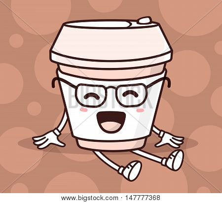 Vector Illustration Of Color Sitting Smile Takeaway Coffee Cup With Hands And Legs On Brown Backgrou