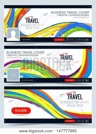 Time to Travel. Colorful vector Web Banner Header Layout Template. Creative cover. Header Layout Template for travel business