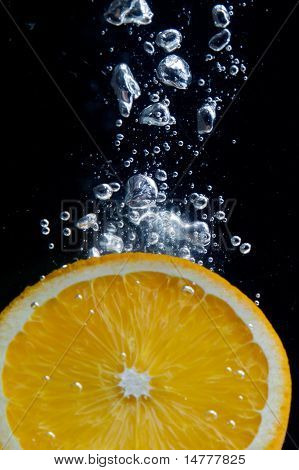 Orange and splash water