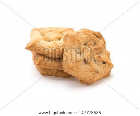 stack of sweet cookies on a white background;